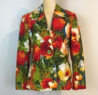 Chicos 1 M Bold Colorful Stretch Jacket Pockets Floral Green Orange 2-Button