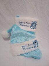 Baby Boys First Christmas Blue Santa Hat & Blue Christmas Stocking Set New