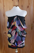 BRYCE D'ANICE AIME black stretch pink red blue yellow spotted  wiggle dress 8 36