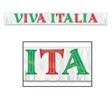 Metallic Viva Italia Banner International Italian Party Decoration