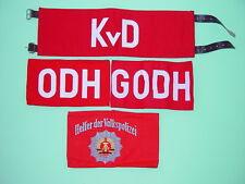 DDR Armbinden-Set, 4 Stück ungetragen, KvD, ODH, GODH, VP-Helfer