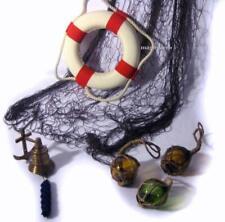 6er Set maritim- Fischerkugeln 5 cm, Schiffsglocke, Fischernetz 4X 2 m-Ring