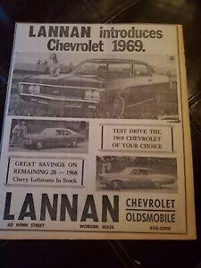 1969 CHEVY IMPALA, NOVA/LANNAN CHEVY WOBURN,MA NEWSPAPER AD