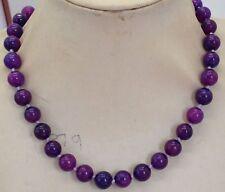 "Natural 10mm Round Purple Sugilite Gemstone Beads Necklaces 18"""