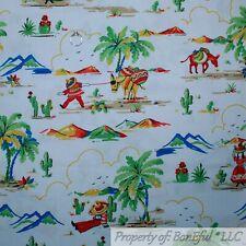 BonEful Fabric FQ Cotton Quilt White Mexico Hat Coco Boy Guitar Scenic Palm Tree