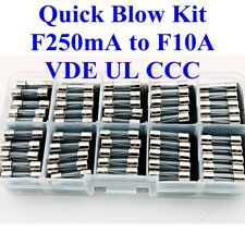 50pcs Kit Glass Fuses 5x20mm FAST BLOW 5F VDE UL 250mA ~ 500mA ~ 10A QUICK ACT