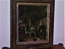 Dutch Oil Painting Outdoor Tavern Scene 7 Figures Cat Leaping For Mouse 18th C.