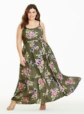 TORRID Olive Floral Tiered Challis Maxi - Plus Size 5 SHORT - NWT