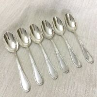 Antique Silver Plated Cutlery Large Table Spoons French Empire Rubans Ribbon Bow