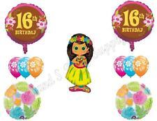16TH BIRTHDAY Sweet Sixteen Luau party Balloons Decoration Supplies Hula Girl