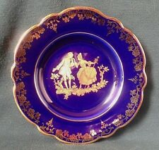 LA REINE LIMOGES TRINKET DISH PORCELAIN PIN DISH BLUE & GOLD THE COURTING COUPLE