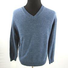 LL Bean V Neck Sweater Mens Large Blue Heather Cotton