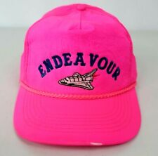 Vtg Nasa Trucker Snapback Cap Hat Endeavor Spaceship Rocket Neon Pink Rare