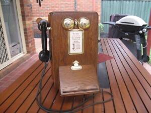 Australian PMG British Ericsson Wooden Wall Telephone c.1930s