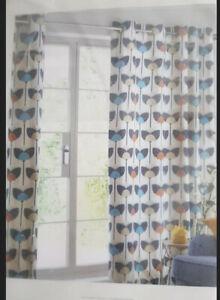 Next retro tulip Print design lined eyelet curtains 117cm X 90cm NEW Sale 120