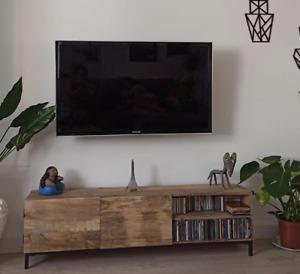 Industrial TV Stand Rustic Solid Wood Cabinet Large Vintage Unit Storage Media