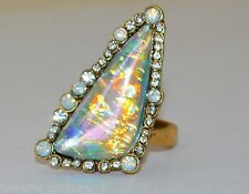 HUGE Blue/Black FIRE OPAL Triangle Yellow Gold Cocktail Statement Ring Size 6