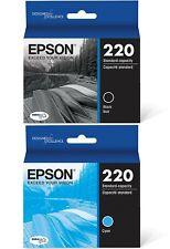 (2) Black/Cyan 2020 Genuine USA Epson 220 New 010343915589 010343915596