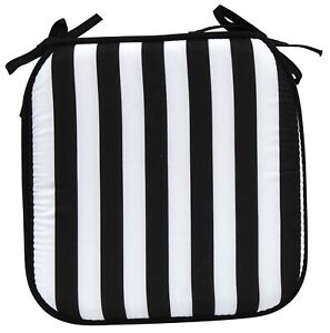 Garden Chair Cushions Seat Pads Tie On 40cm x 40cm Black & White Stripes Cushion