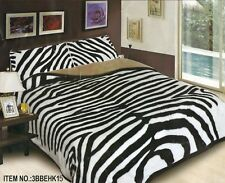 3 Piece Zebra Thick Heavy Mink Plush Super Soft Sherpa Blanket King Size 10 lbs