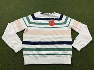 Puma Women's Crewneck Stripe Ribbon Sweater Blue Spruce SZ S ( 599268 02 )