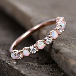 Simple Rose Gold Small Round White Simulated Opal CZ Ring Wedding Jewelry size 7