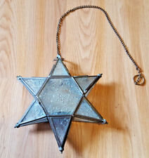 """Hanging Star Tealight Holder Metal and Patterned Glass Panels Pretty 9"""" Tall"""