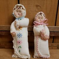 2 Handmade Vintage Handkerchief Baby Infant Sleeping Dolls Ornaments Toy 6 & 7in
