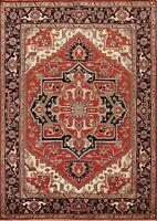 Geometric Hand-Made Indo Heriz Serapi Oriental Area Rug Living Room 8x10 Carpet