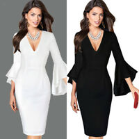 Women Sexy Sheath Deep V-neck Flare Bell Long Sleeve Office Party Bodycon Dress