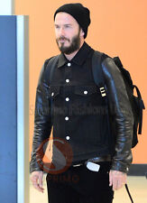David Beckham Fashionable Casual wear denim with Real leather sleeves jacket