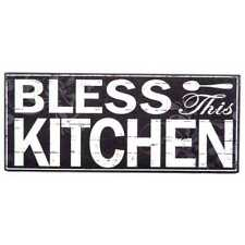 "Home Decor Black Wood ""Bless This Kitchen"" Wall Plaque - 11 3/4"" W x 4 7/8"" H"