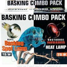 Repti Basking Spot 75 W Watt & Infrared Heat Reptile 2 Light Combo Pack Zoo Med