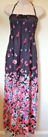 M&S Size UK 10 Long Black Pink Floral Bandeau Beach Maxi Dress New With Tags