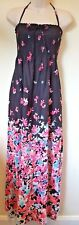 M&s Size UK 10 Long Black Pink Floral Bandeau Beach Maxi Dress With Tags