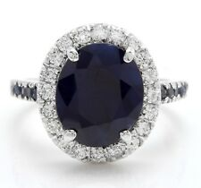 6.40 Carat Natural Sapphire and Diamonds in 14K Solid White Gold Women Ring