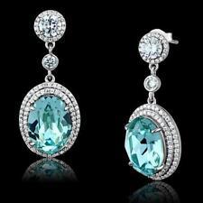 508 AQUAMARINE BLUE STERLING SILVER DANGLE DROP EARRINGS SIMULATED DIAMONDS