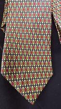 Brooks Brothers Silk Neck Tie Diamond Pattern Black Red Gold