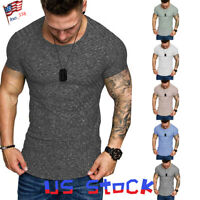 Fashion Men's T-Shirts Short Sleeve Muscle Slim Tops Sports Casual Plaids Gym US