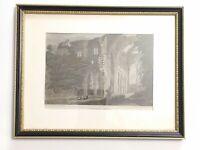 Vintage Wooden Framed Print & Border, Tintern Abbey Wales Welsh Theme 23cm x18cm