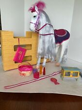"""Our Generation 19 1/4"""" White Posable Andalusian Horse Silver Mane & Tail W/stall"""
