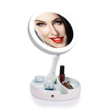 Usa Led Makeup Mirror With Storage Folding Standing Vanity Mirror 10x Magnifying