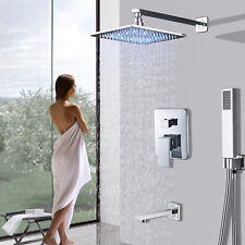Chrome Shower Faucet System 8 Inch LED Rainfall Shower Tub Mixer Hand Shower Tap