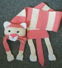 Cat Scarf - Childs - Pink, Cream & White - Knitted