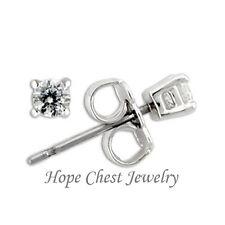 Round Shape Cubic Zirconia Stud Earrings Hcj Brand Sterling Silver Small 3mm