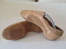 NEW Central Elastic Mesh/Leather Tan Jazz Dance Shoes Size Adult 7 AU