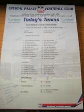 13/04/2002 Colour Teamsheet: Crystal Palace v Preston North End (Folded, Team Ch