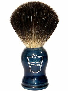 Parker Safety Razor 100% Black Badger Shaving Brush - Blue Wood Handle & Stand