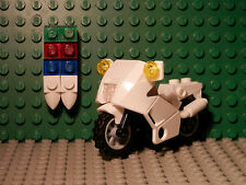 Legos One WHITE Sport Motorcycle with Accessories and Lights Town City Police