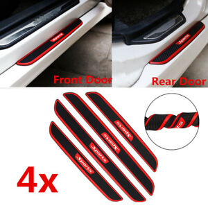 4x Black Rubber Car Door Sill Scuff Plate Cover Step Protector Carbon Fiber Look